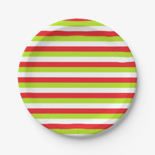 Red Lime Green and White Stripes Paper Plate  sc 1 st  Zazzle & Green Red White Stripe Plates | Zazzle