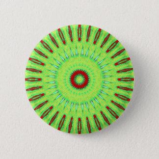 Red Lime Green Circular Mandela Pattern Pinback Button