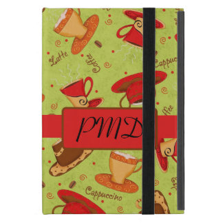 Red Lime Green Coffee Cups Name Monogram Initial Case For iPad Mini