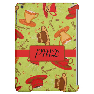 Red & Lime Green Coffee Cups Name Monogram Initial Cover For iPad Air