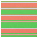 [ Thumbnail: Red, Lime Green & Light Grey Colored Stripes Fabric ]
