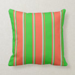[ Thumbnail: Red, Lime Green & Light Grey Colored Stripes Throw Pillow ]