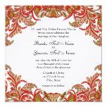 "Red, Lime & Orange Vintage Paisley Damask Wedding 5.25"" Square Invitation Card"