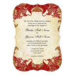 "Red, Lime & Orange Vintage Paisley Damask Wedding 5"" X 7"" Invitation Card"