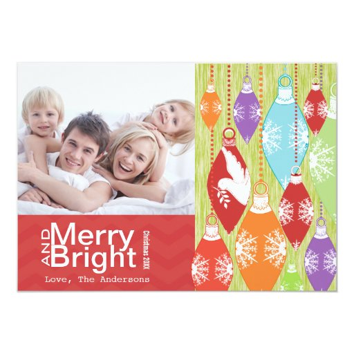 Red Lime Retro Merry and Bright Family Photo Card