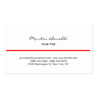 Red Line Black White Handwriting Business Card