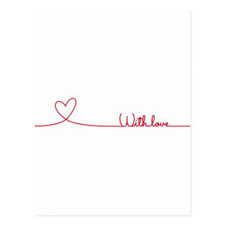 red line drawing heart with love postcard