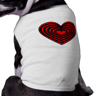 Red Lined Heart Dog T-shirt