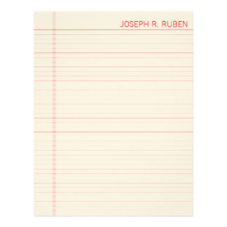 Red Lined Notebook Paper Letterhead