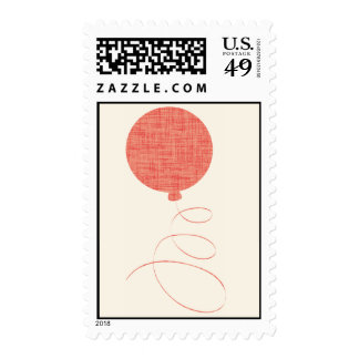 Red Linen Balloon Postage Stamp
