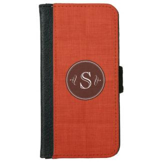 Red Linen Custom Monogram Iphone 6 Wallet Case