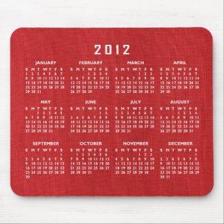 Red Linen Fabric Texture 2012 Calendar Mousepad