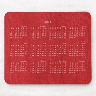 Red Linen Fabric Texture 2013 Calendar Mousepad