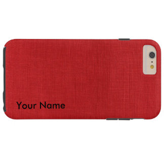Red Linen Photo iPhone 6 Plus Case with Name