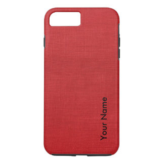 Red Linen Photo with Your Name iPhone 7 Plus Case