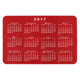 Red Linen Texture Photo 2017 Calendar Magnet