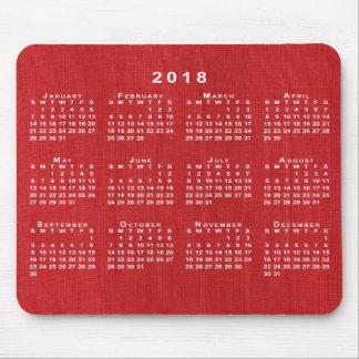 Red Linen Texture Photo 2018 Calendar Mousepad