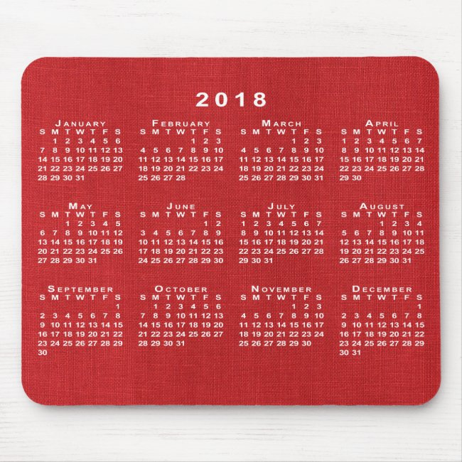 Red Linen Texture Photo 2018 Calendar Mousepad