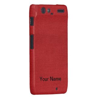 Red Linen Texture Photo Droid RAZR Cover