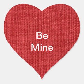 Red Linen Texture Photo Heart Sticker