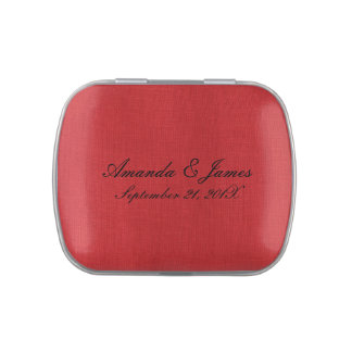 Red Linen Texture Photo Jelly Belly Tins
