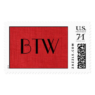 Red Linen Texture Photo – Large Postage Stamps