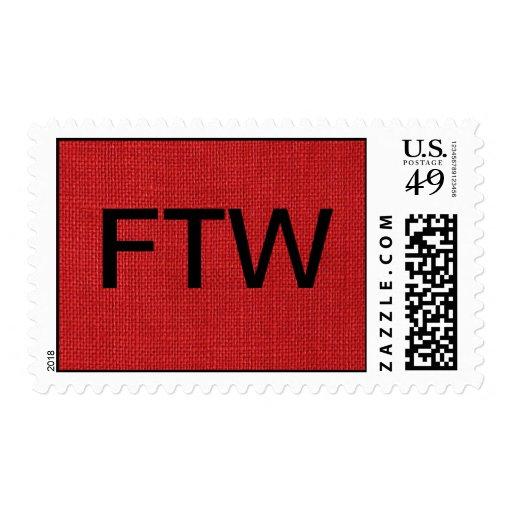 Red Linen Texture Photo – Medium Postage Stamp