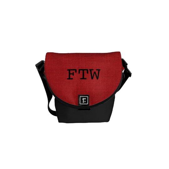 Red Linen Texture Photo Messenger Bag