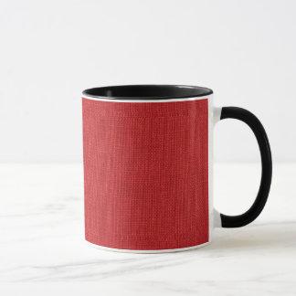 Red Linen Texture Photo Mug