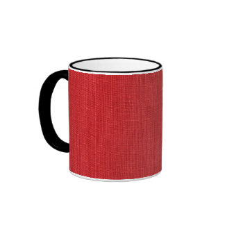 Red Linen Texture Photo Ringer Mug