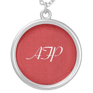 Red Linen Texture Photo Round Pendant Necklace