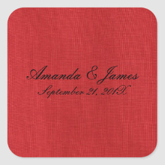 Red Linen Texture Photo Square Sticker