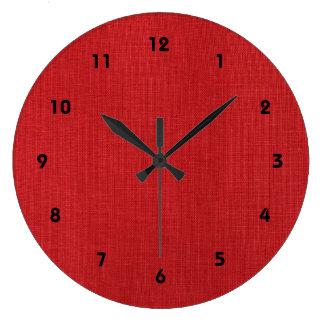 Red Linen Texture Photo Wall Clock
