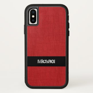 Red Linen Texture Photo with Custom Name iPhone X Case