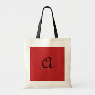 Red Linen Texture Photo with Monogram Budget Tote Bag
