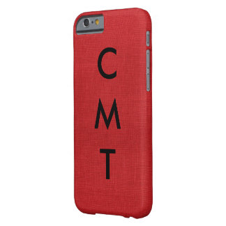 Red Linen Texture Photo with Monogram Barely There iPhone 6 Case