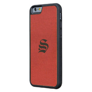 Red Linen Texture Photo with Monogram Carved® Maple iPhone 6 Bumper