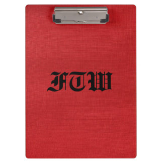 Red Linen Texture Photo with Monogram Clipboards