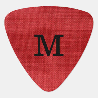 Red Linen Texture Photo with Monogram Guitar Pick