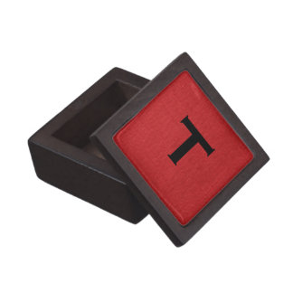 Red Linen Texture Photo with Monogram Premium Jewelry Box