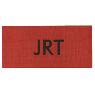 Red Linen Texture Photo with Monogram Wood USB Flash Drive