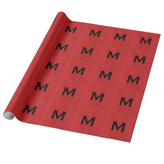 Red Linen Texture Photo with Monogram Wrapping Paper