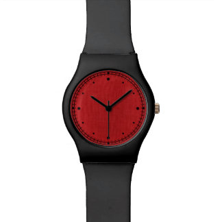 Red Linen Texture Photo Wristwatch