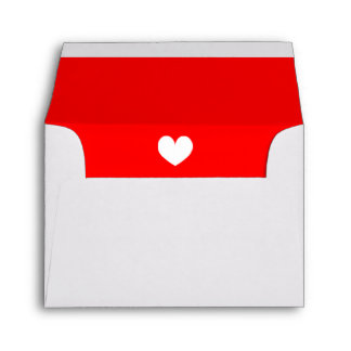 Red liner wedding envelopes with cute little heart