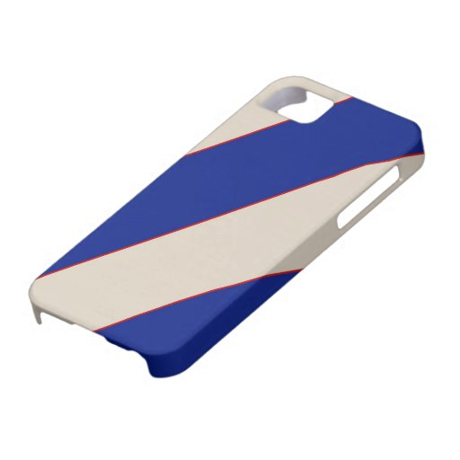 Red Lines on Blue and Creme Striped iPhone 5 Case
