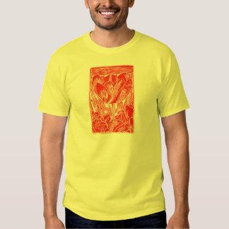 Red Linocut Tulip T-Shirt