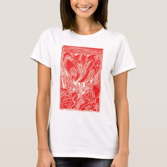 Red Linocut Tulip Women's Shirt