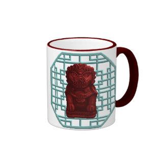 Red Lion Dog Pixel Art Coffee Mugs