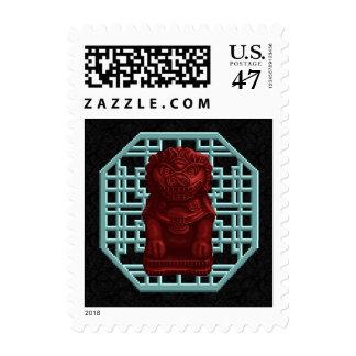 Red Lion Dog Pixel Art Postage