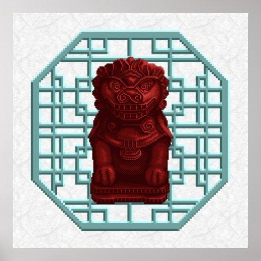 Red Lion Dog Pixel Art Poster